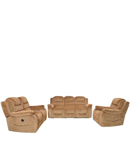 electric sofa set and bed combo buy soul 3 2 1 with recliner in beige colour by home online sets recliners pepperfry