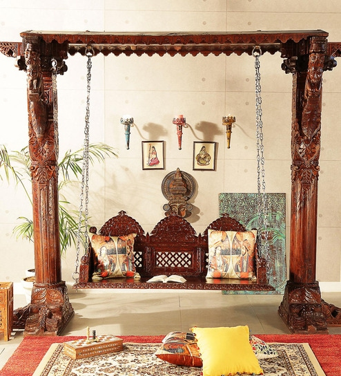 swing chair with stand pepperfry covers for lifetime folding chairs buy hindola wooden carved in honey oak finish by mudramark online swings outdoor furniture