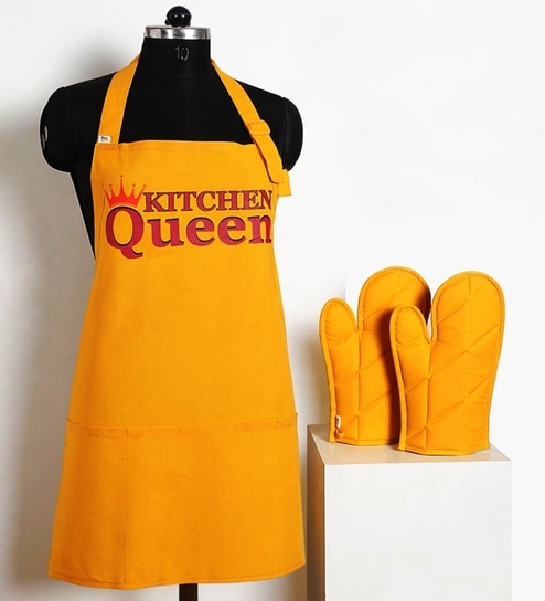 kitchen aprons moen renzo faucet buy swayam queen apron set online