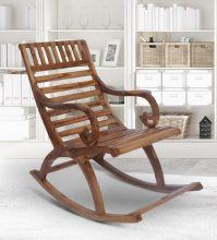 Buy Teak Wood Rocking Chair in Natural Finish by Furniease ...