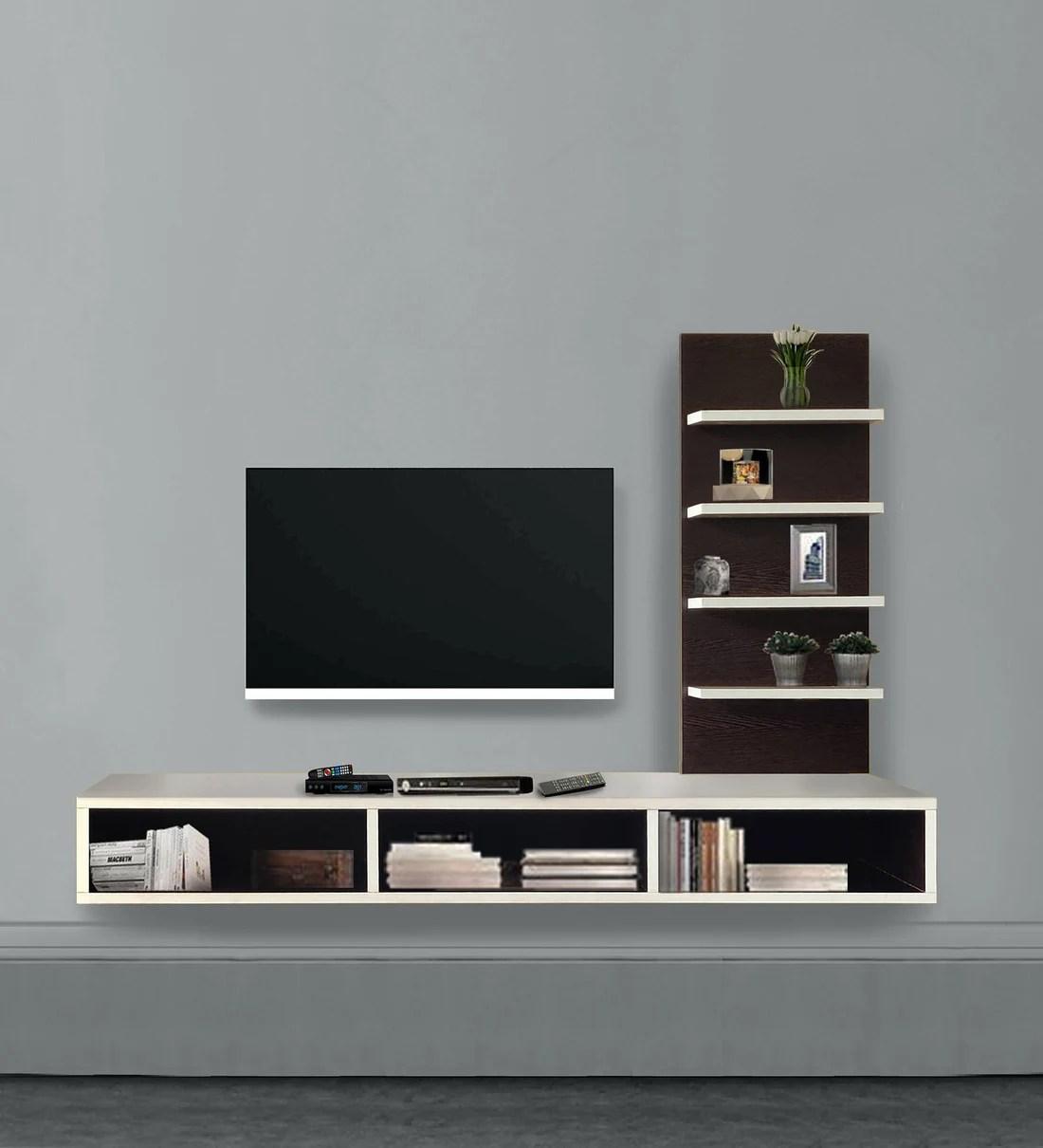 thomas wall mounted tv unit in wenge finish