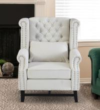 Buy Tufted Wing Chair in Off White Colour by Dreamzz ...