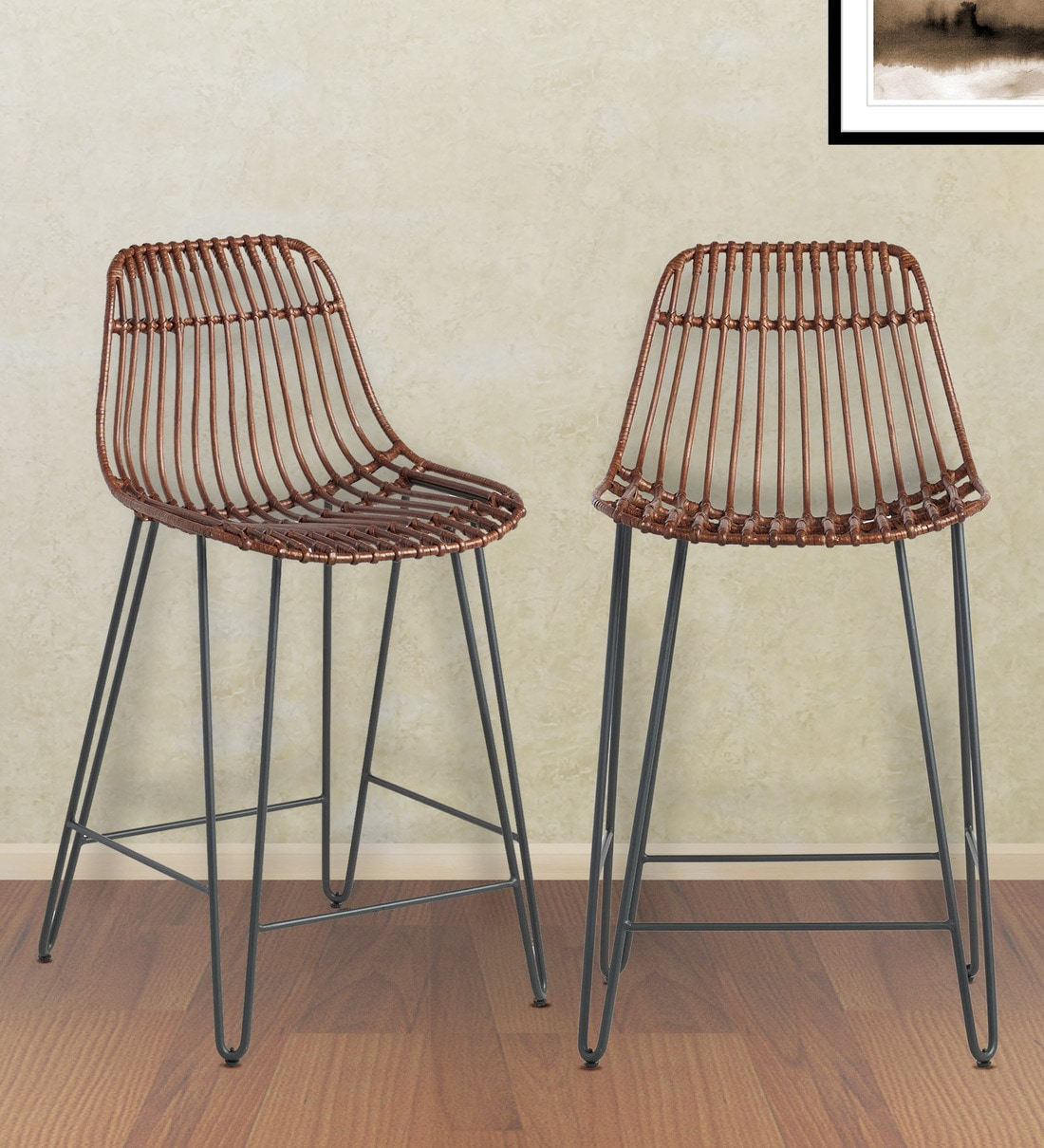 Buy Flynn Hairpin Counter Stools Set Of 2 In Espresso By Twigs Direct Online Industrial Bar Stools Bar Furniture Furniture Pepperfry Product