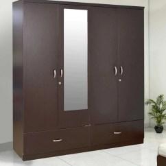 Wenge Wood Kitchen Cabinets Accent Rugs Buy Utsav Four Door Wardrobe With Mirror In Finish ...