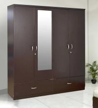 Buy Utsav Four Door Wardrobe With Mirror in Wenge Finish ...
