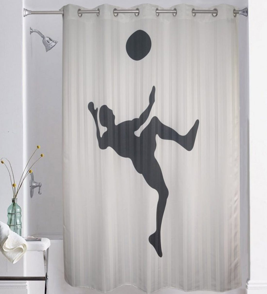 print polyester shower curtain l 82