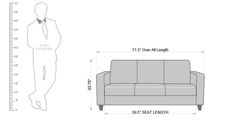 Buy Alba Three Seater Sofa in Denim Blue Colour by