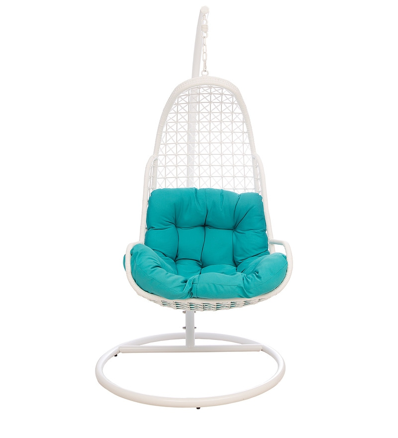 swing chair with stand pepperfry swivel recliner chairs fabric buy bay in white blue colour by hometown online click to zoom out explore more from furniture