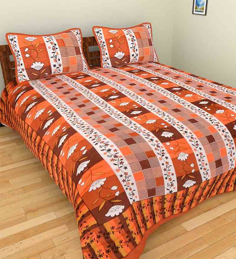 Buy GRJ India Multicolour Cotton Ethnic Double Bed Sheet