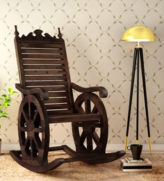 rocking chair with footstool india make up chairs online buy wooden in at best harold solid wood provincial teak finish