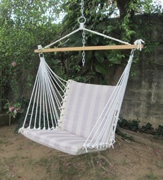 swing chair with stand pepperfry double rocking adirondack plans swings hammocks buy chairs for home online at premium cushioned in tan stripe