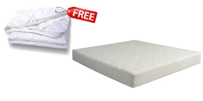 King Size 6 Inch Coir Latex Memory Mattress In Light Green Color Free Protector