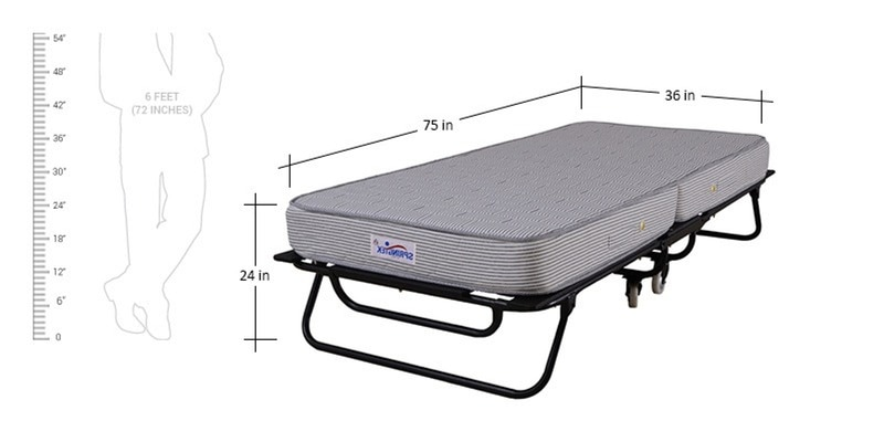 Buy Roll Away Folding Space Saving Bed With Free 6 Inch