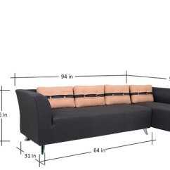 L Shaped Sofa Designs Pune Grey Shape Ikea Buy Iowa Lhs Three Seater With Lounger In Steel ...