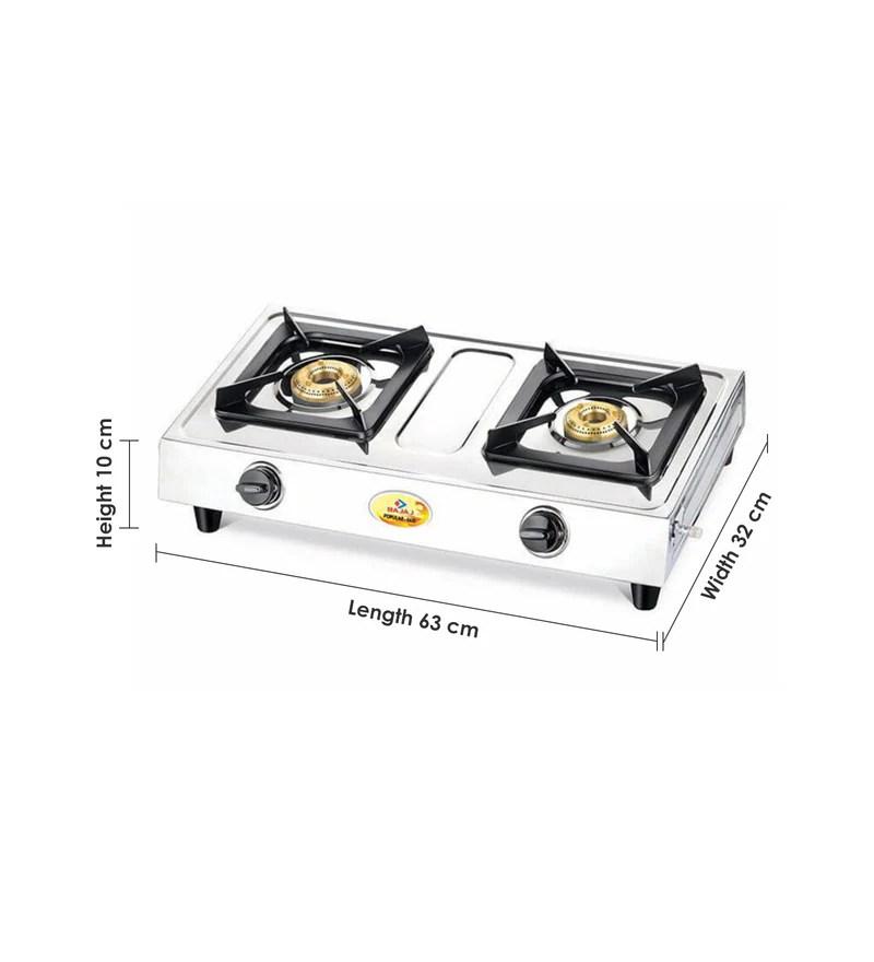 Buy Bajaj 2 Brass Burners Manual Glass Gas Stove (Model No