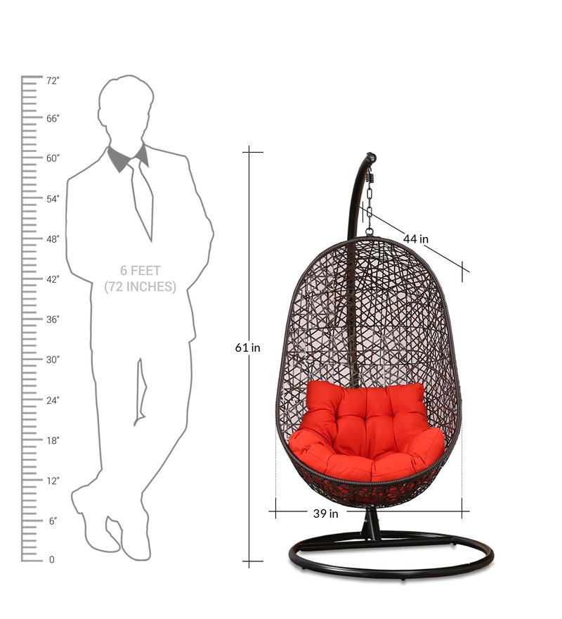 swing chair with stand pepperfry posture support buy begonia orange cushion in brown frame by click to zoom out explore more from furniture