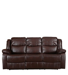 leather vs fabric sofa india 2 seater l shaped bed three recliners buy online hugo recliner in brown colour
