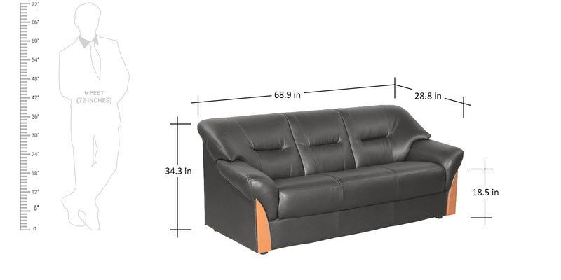 Buy Parto Three Seater Sofa in Black Colour by Godrej