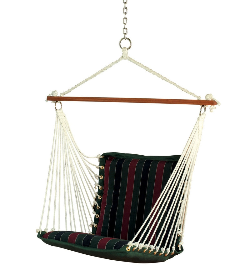 swing chair with stand pepperfry pottery barn anywhere cover washing instructions buy hang it rope hammock 13ft steel online premium cushioned in tricolor stripe by