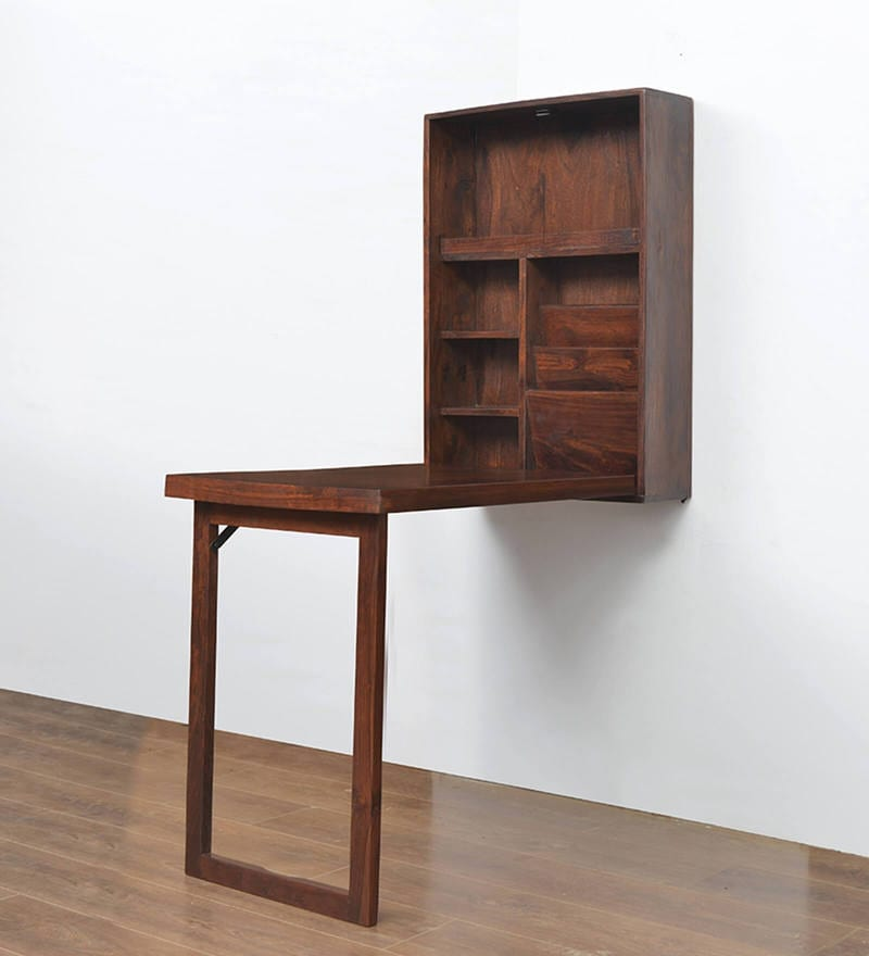Buy Valindor Wall Mount Study Table in Brown Colour by