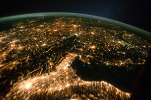 This image of Central and Eastern Europe at night was taken from the NASA, International Space Station in 2011. Image Credit: NASA
