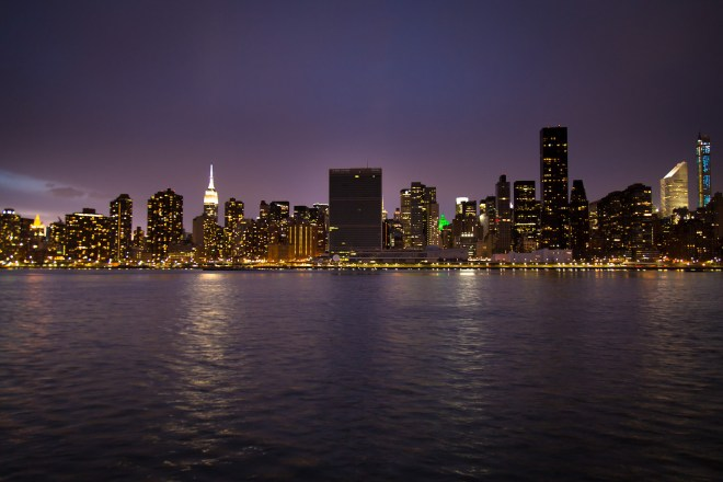 """The United Nation Headquarters complex in New York turns out their lights in observance of """"Earth Hour,"""" in 2015. Credit: John Gillespie via Flickr"""
