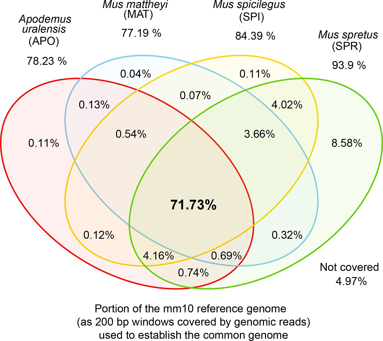 hight resolution of venn diagrams of representation of the common genome derived from 200bp windows covered in genomic reads in species with more than one million years