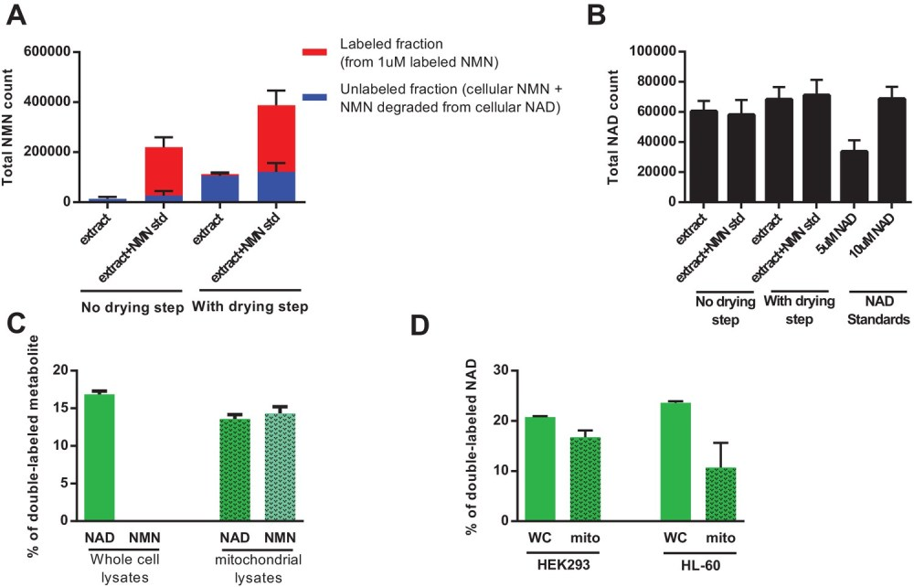 medium resolution of direct injection of methanolic extracts reveals preferential labeling and mitochondrial uptake of nad over nmn