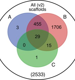 venn diagram representation of blobtools taxonomic annotation filtering approach for ppyr1 2 scaffolds  [ 1500 x 1394 Pixel ]