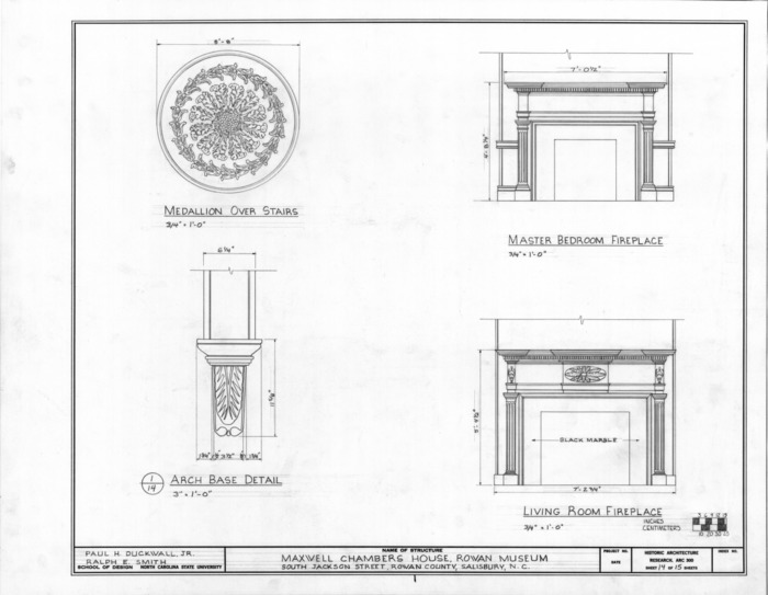 Fireplace and ornamentation details, Utzman-Chambers House