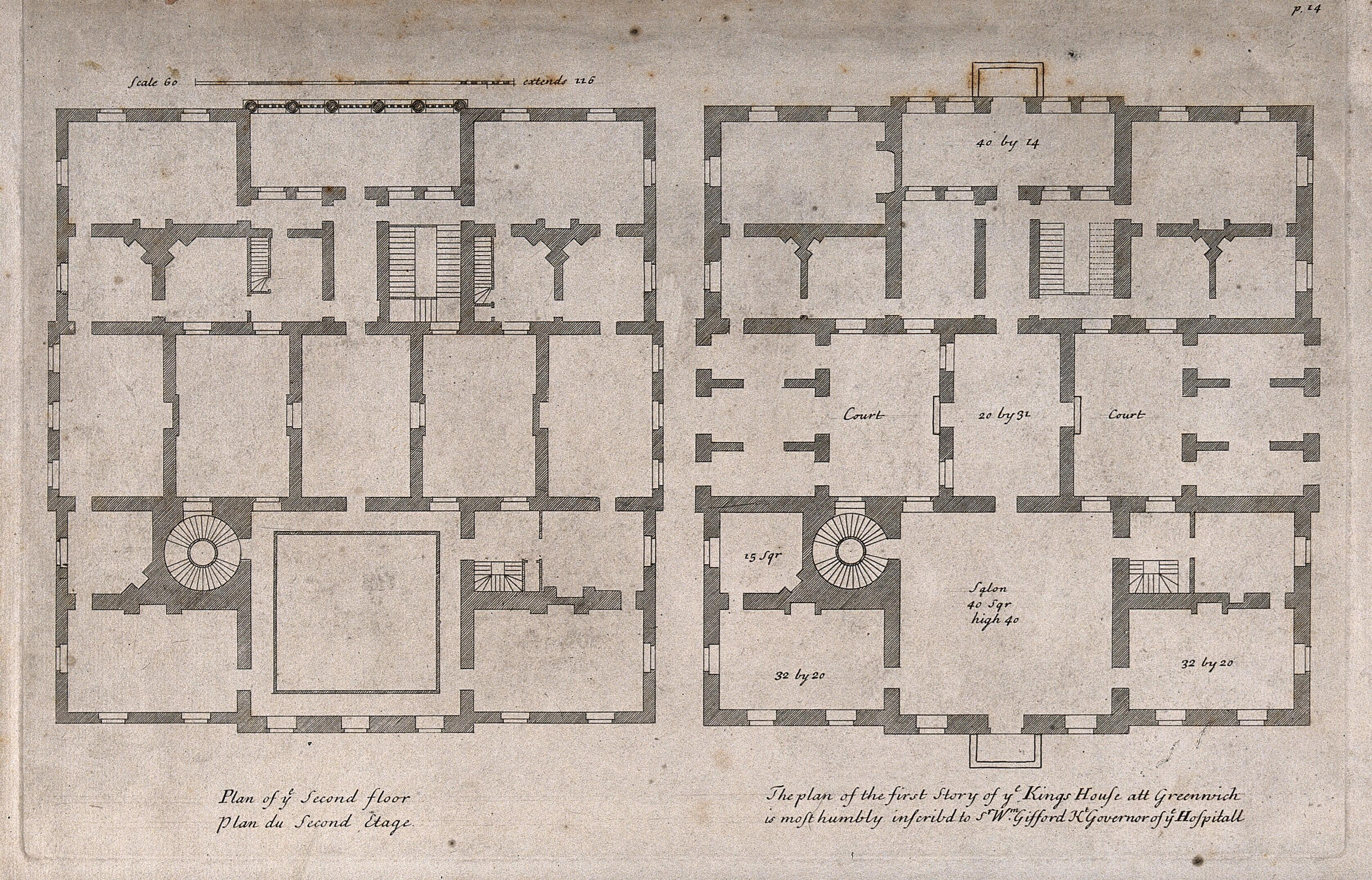 The Queens House Greenwich Plans Of The Ground And First Floors With A Scale And Dimensions