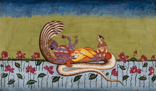 Lord Vishnu lying on the thousand-headed lord of the serpents, Anantha. Gouache painting by an Indian artist.