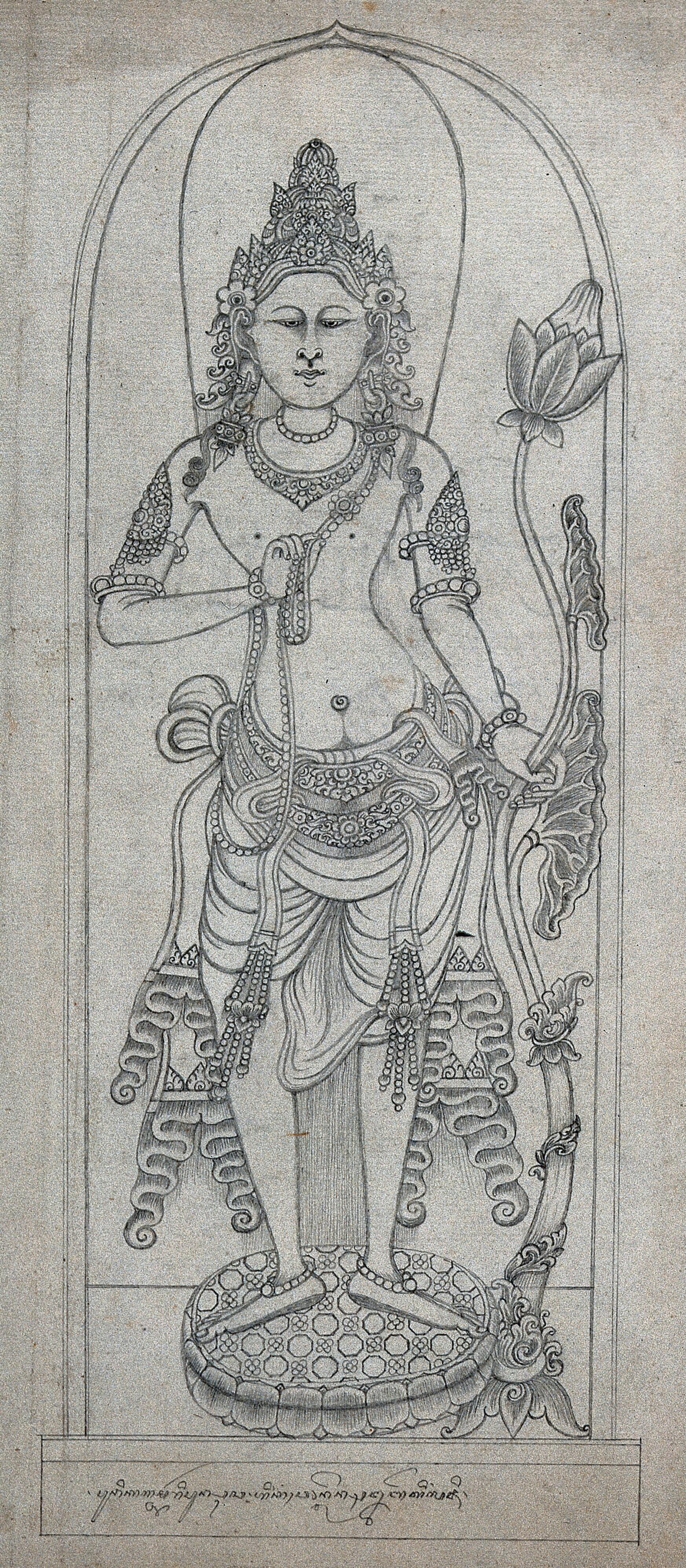 Temple Sculpture A Standing Figure Holding A Lotus Flower Pencil Drawing Wellcome Collection