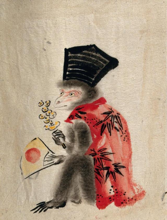 A Japanese style monkey wearing a black hat and red shirt while holding a fan and a flower.
