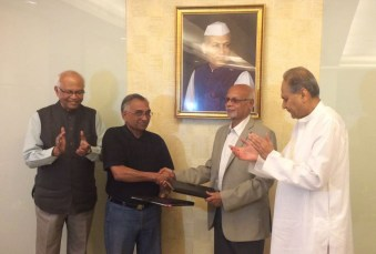 Prof R. A. Mashelkar, Mr C. P. Tripathi, Prof K. N. Ganesh, Mr Rahul Bajaj at the MoU signing