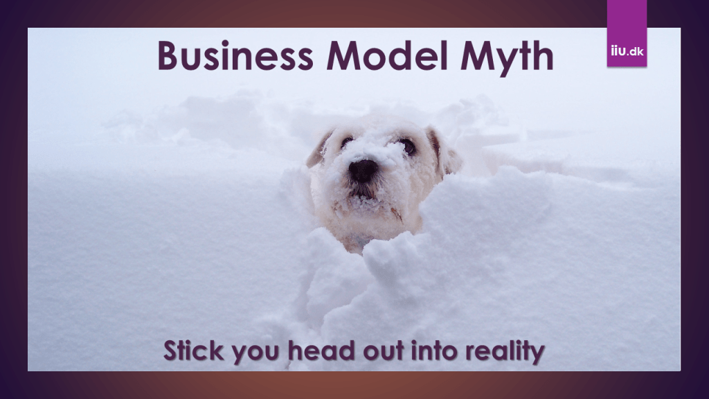 The unique business model myth - Dog in snow