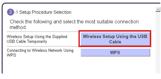 Wireless Setup Using the USB Cable