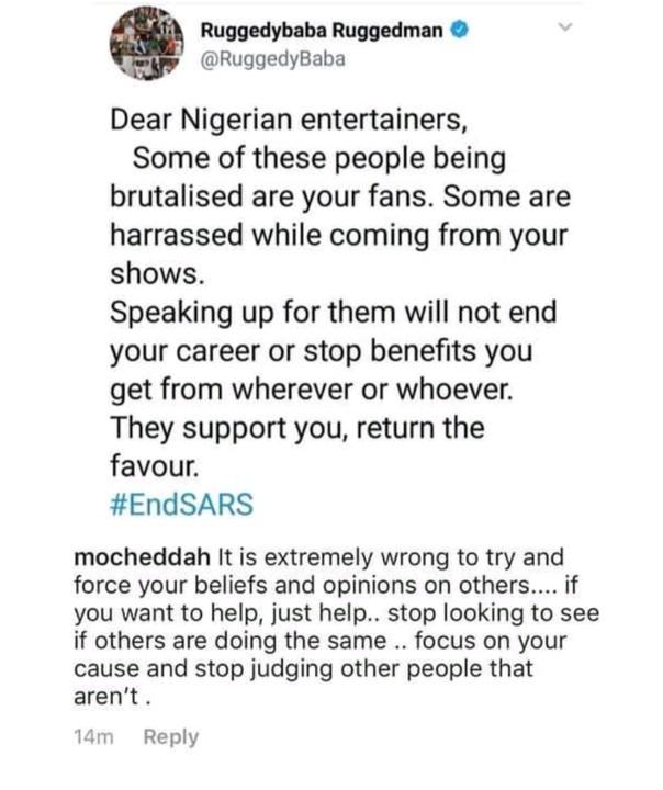 Mocheddah Tackles Ruggedman For Urging Celebs To Speak Against SARS 1