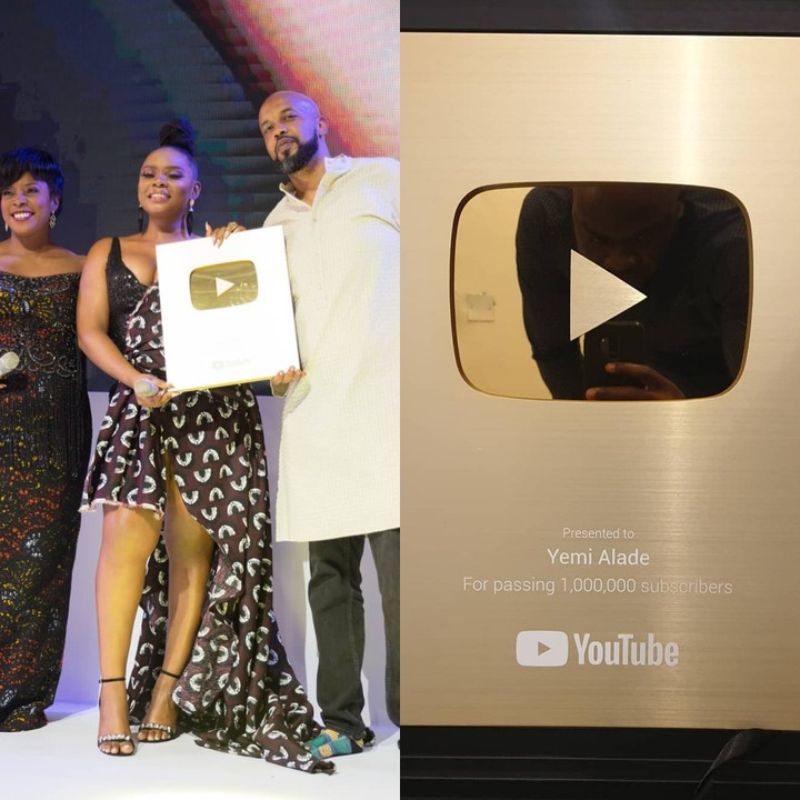 Youtube Presents Yemi Alade A Gold Creator Award For