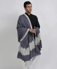 Steel Grey Pure Pashmina Tilla Hand Embroidered Men's Shawl