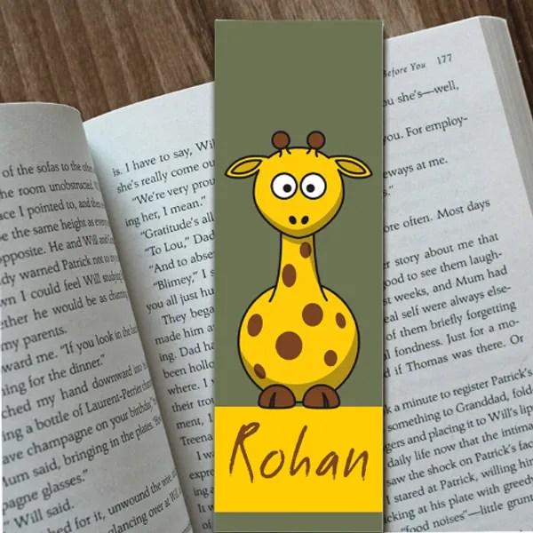 personalized bookmark girrafe