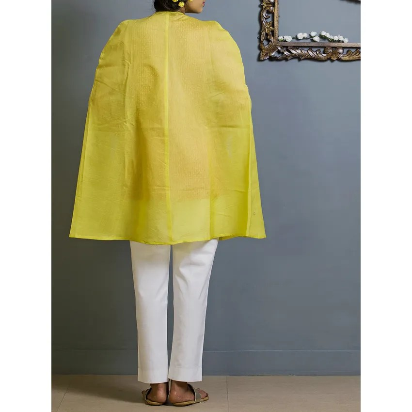 Yellow Cape Style Chanderi Overlay Ann 10