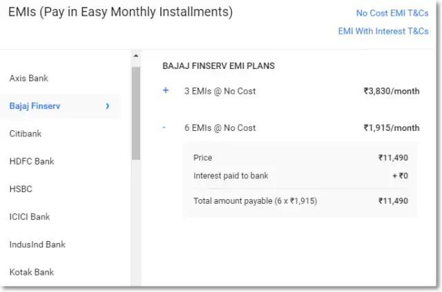 Samsung J7 Nxt EMI at ?558/month and Bajaj Finance