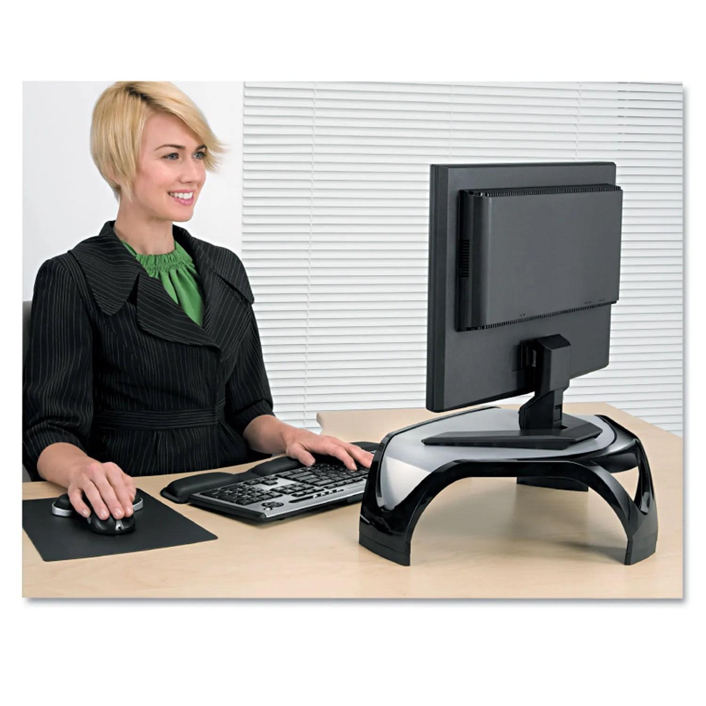 Smart Suites Corner Monitor Riser 18 1 2 X 12 1 2 X 5 1 8 Black Clear Frost
