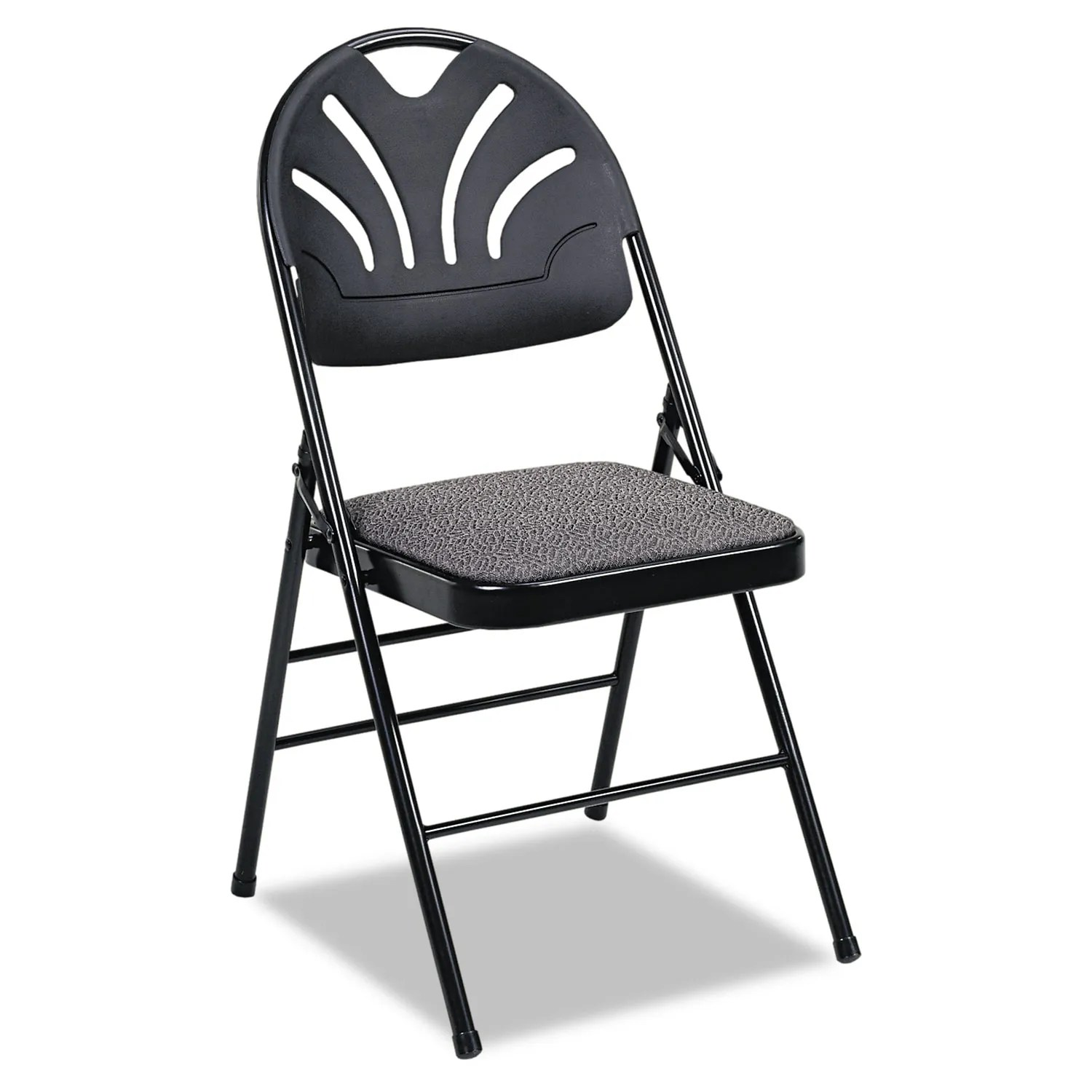 Cosco Folding Chair Fabric Padded Seat Molded Fan Back Folding Chair By Cosco