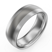 Men's Brushed Tungsten Promise Ring with Engraving - New