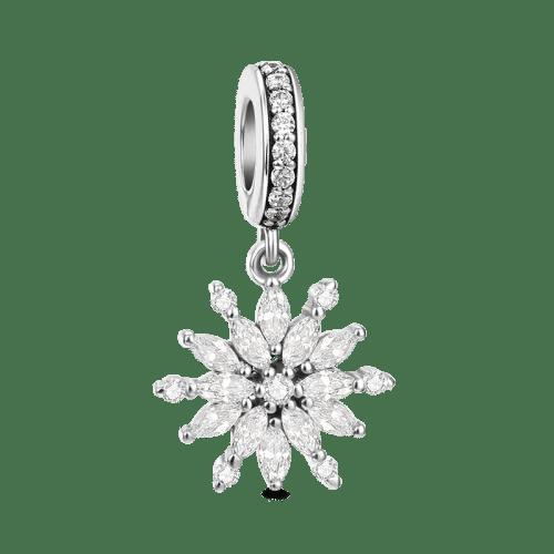 Silver Bling Snowflake Dangle Charm