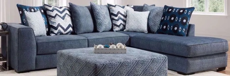 tussah dark blue two piece sectional