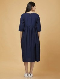 Buy Navy Blue Tie and Dye Cotton Dress online at Theloom