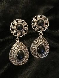Buy Black Onyx Stud Silver Earrings online at Theloom